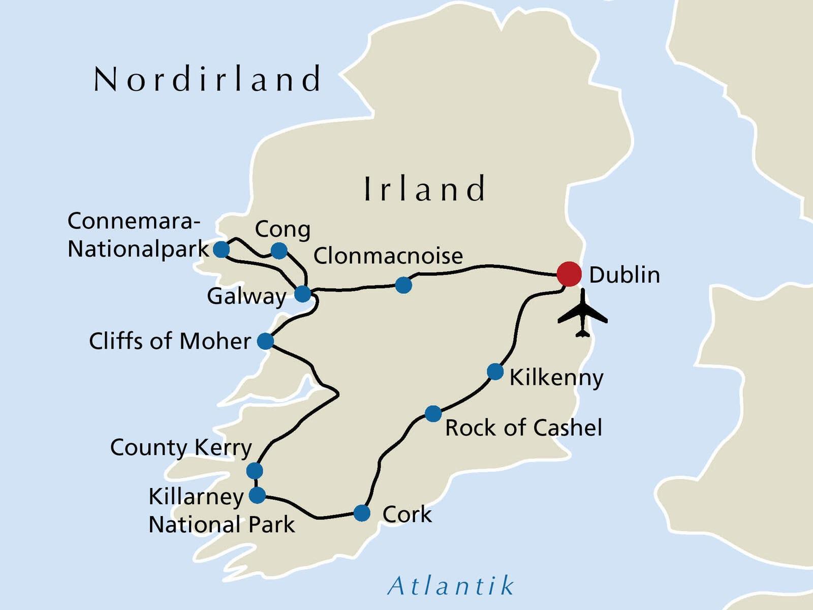Irland Karte Rundreise.Irland Rsd Reisen De